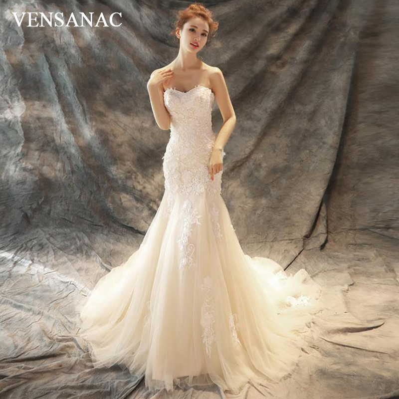 VENSANAC Elegant Strapless Lace Appliques Mermaid Wedding Dresses Off The Shoulder Court Train Backless Bridal Gowns