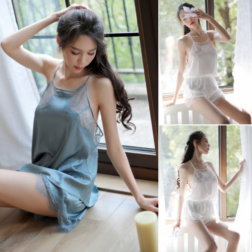2Pcs Womens Sexy Satin Lace Sleepwear Babydoll Lingerie Nightdress Pajamas Set