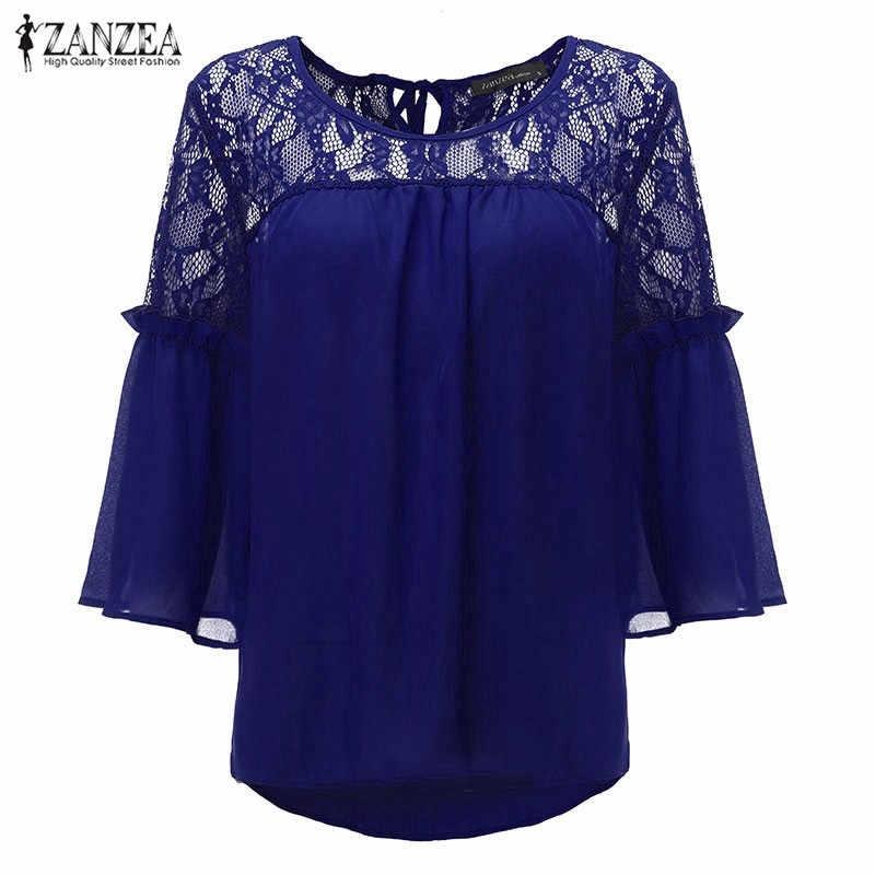 ZANZEA Лето 2019 Для женщин Блузка шифон, кружево с отделкой стиле пэчворк цветочный кружевная юбка с круглым вырезом Повседневное Свободная блуза, топы Femininas Плюс Размеры