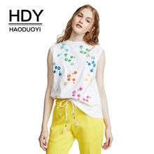 HDY Haoduoyi Street Style Simple Fashion Basic Section Sexy Sleeveless Tops Multicolored Wave Point Embroidered T-shirt