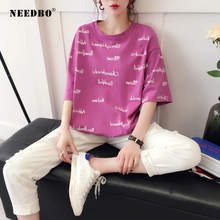 NEEDBO Summer T Shirt Women New Arrivals Oversize Tshirts Half Sleeve O-neck Top Printed Letter Streetwear