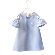Summer Children Kids Baby Girls Dress Cotton Casual Short Sleeve Striped Off Shoulder Dresses YJS Dropship girls off shoulder flounce sleeve striped top