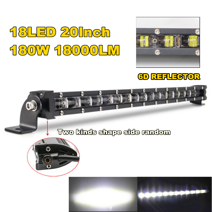 20'' 180W 18000LM Aluminum 6D Spot Beam Slim LED Work Light Bar Single Row Car SUV Off Road Lamps