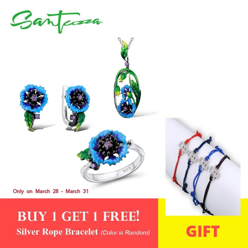 SANTUZZA комплект ювелирных изделий ручной работы Эмаль Синий цветок кольцо серьги-подвеска цепочки и ожерелья 925 пробы серебро для женщин модн...