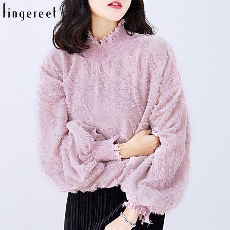 Nouveau été couleur lourde Jacquard lanterne manches Twinset non doublé haut vêtement femmes chemises en mousseline de soie blouse dentelle tempérament