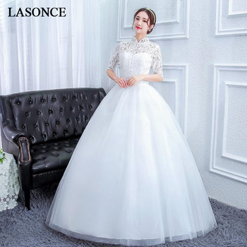 LASONCE High Neck Buttons Ball Gown Lace Wedding Dresses Hollow Out Embroidery Half Sleeve Open Back Bridal Dress