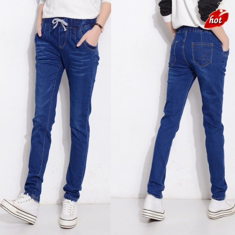 2018 New Slim   Jeans   for Woman Skinny High Waist   Jeans   Women Pencil Pants Stretch Elasticity Women   Jeans   Plus Size O8R2
