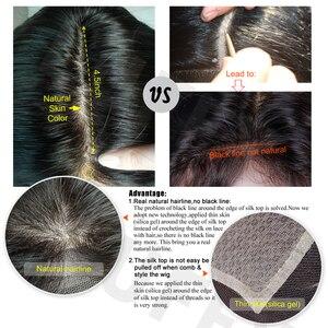 Image 3 - LUFFYHAIR brezilyalı kıvırcık ipek taban dantel peruk bebek saç tutkalsız Remy saç ipek üst dantel ön peruk siyah için kadın