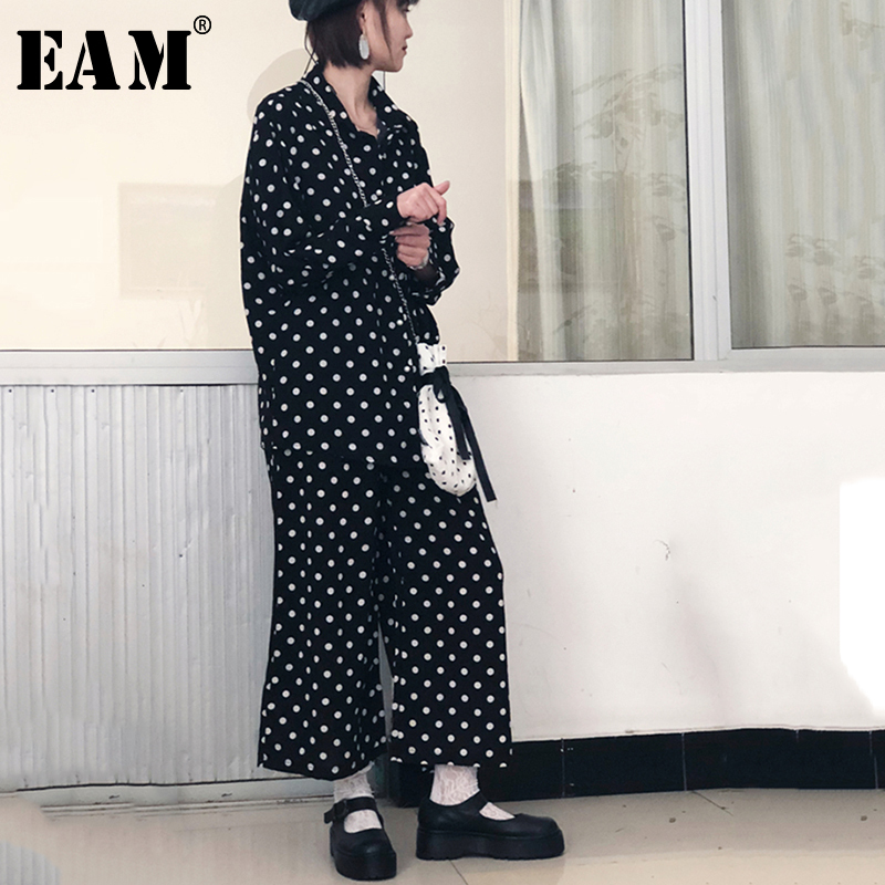 EAM 2019 New Spring Summer lapel Long Sleeve dot printed Loose Wide Leg Pants Two
