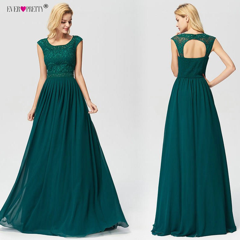 Dark Green Plus Size   Evening     Dresses   Long Ever Pretty 2019 Sexy A-line Lace Beading Backless Sleeveless Chiffon abendkleider