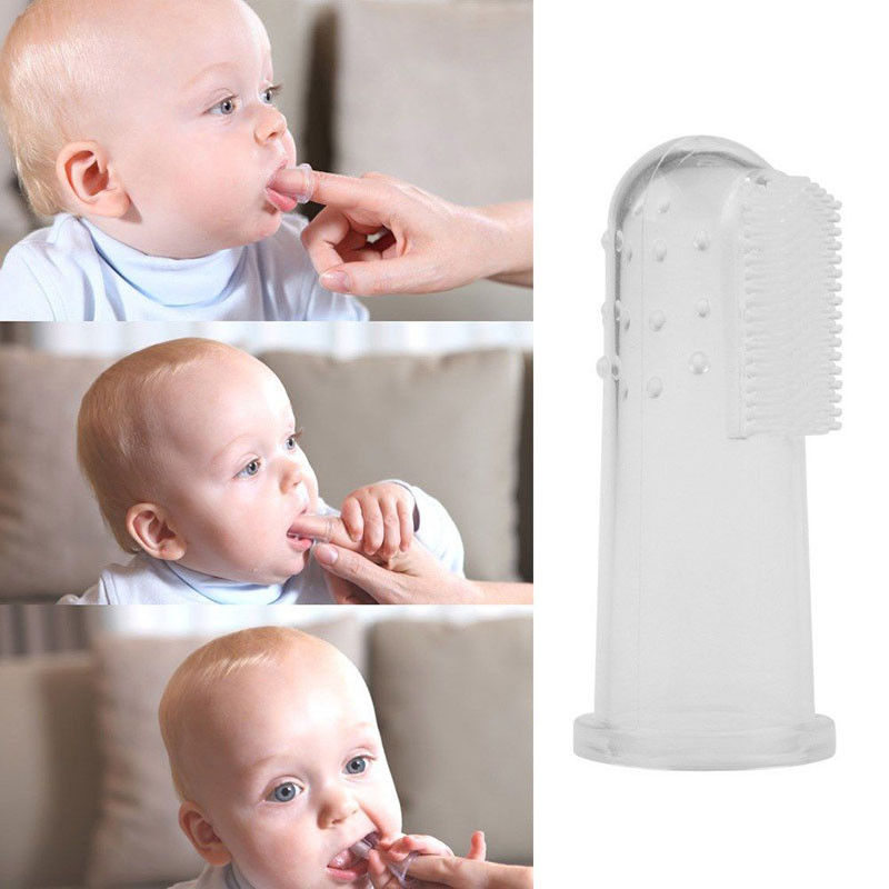 Portable Blue Baby Finger Toothbrush with Box Case 1pcs Set Finger Toothbrush For Babies image