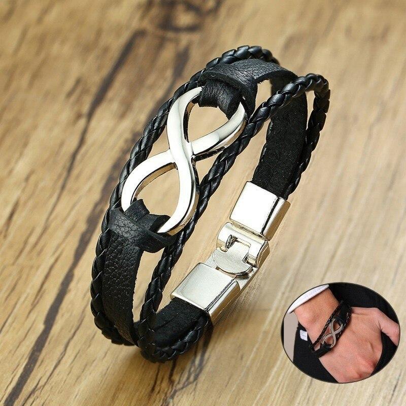 Vnox Bracelet Charm-Cuff Braided Infinity Love Bangle Women Fit Mens