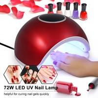 72W LED UV Nail Lamp Nail Gel Dryer Fingernail & Toenail Gel Curing Machine Nail Art Painting Nail Tool EU/US Plug