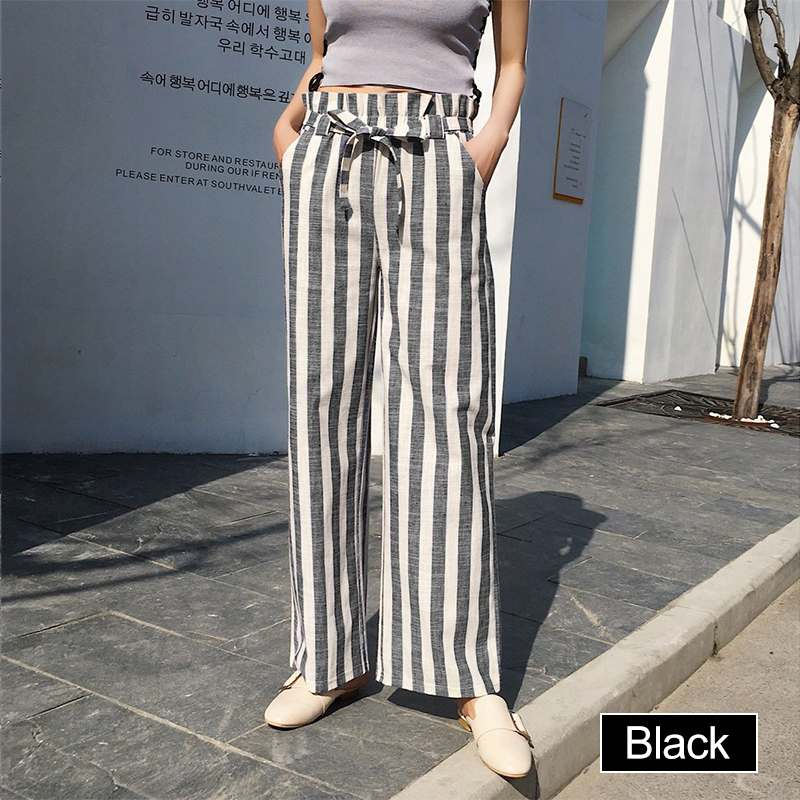VONDA Plus Size Female Striped   Pants   2019 Women Vintage   Wide     Leg     Pants   Casual Loose Fashion Belt   Pants   Bottoms Long Trousers