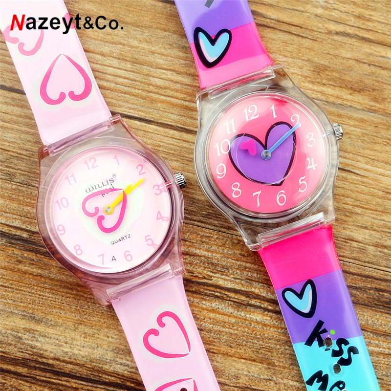 Droshipping Fashion Women Lovely Heart Watch For Student Girls High Quality Rubber Waterproof Wristwatch  PC21 Movement