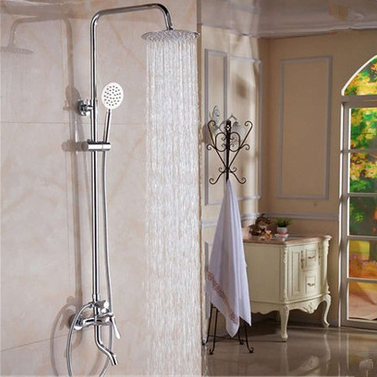 Us 62 4 52 Off 8inch Chrome Brass Polished Rainfall Shower Faucet Set Shower Tub Mixer Tap Nozzle Spout Wall Mounted With Handshower Head In Shower
