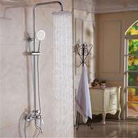 8Inch Chrome Brass Polished Rainfall Shower Faucet Set Shower Tub Mixer Tap Nozzle Spout Wall Mounted With Handshower Head