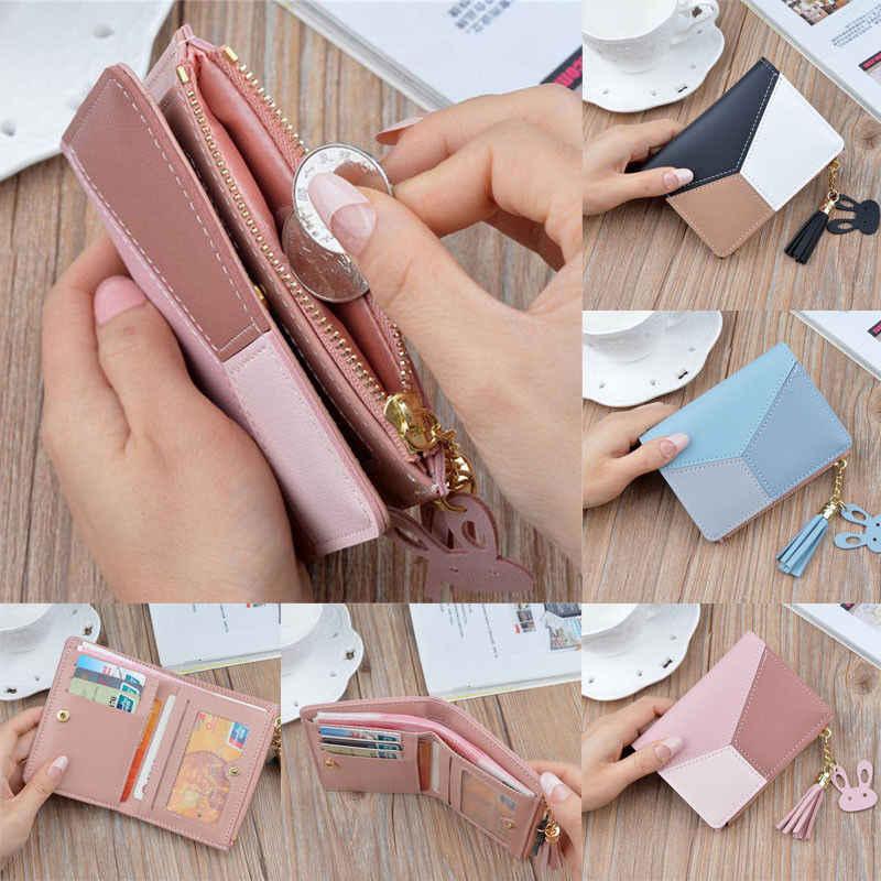 Женский кожаный маленький короткий кошелек для монет на молнии, мини-кошелек на кнопках