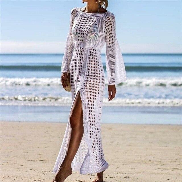 Sexy Hollow Knitted Beach Dress Long Sleeve Cover Up Open Cross Holiday Skirt Women 2019 Tunics Long Swimwear Saida de Praia
