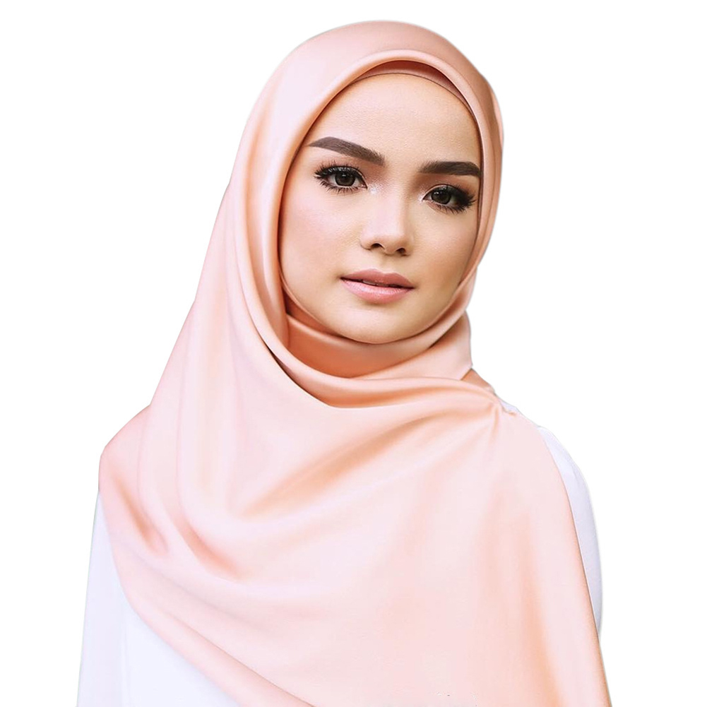 Solid Color Square Silk   Scarf     Wraps   Spring Autumn   Wrap   Large Satin Silk Muslim Hijab Head   Scarves   90*90cm