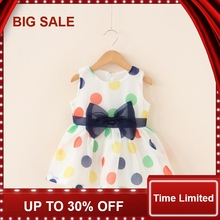 2018 Baby Girl Dress Summer Bow Chiffon Infant Sleeveless Dot 1 Year Birthday Clothes