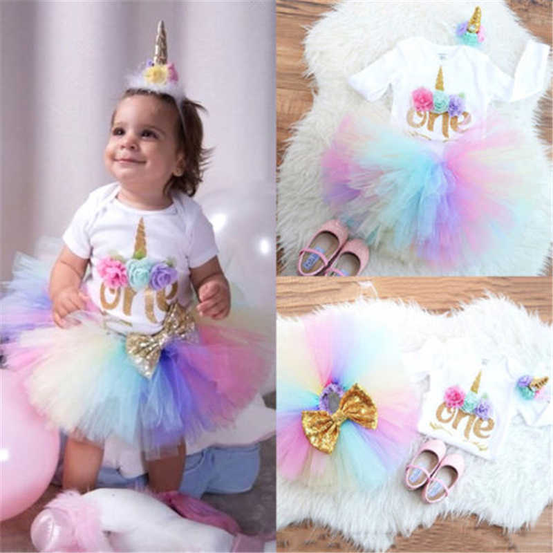 1c1d5ecbc ... UK 3PCS Baby Girl 1st Birthday Outfit Party Unicorn Romper Cake Smash Tutu  Dress New Baby ...