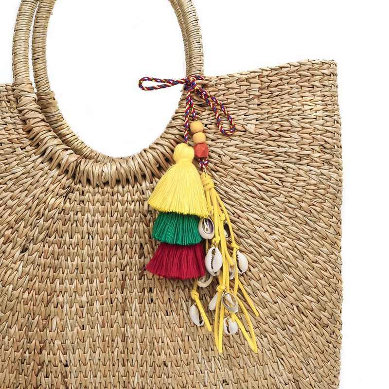 Estilo Boho Praia Shell Chaveiros Com Colorido Saco Pendurado Contas de Madeira Pingente de Borla Para As Mulheres Jóias Verão