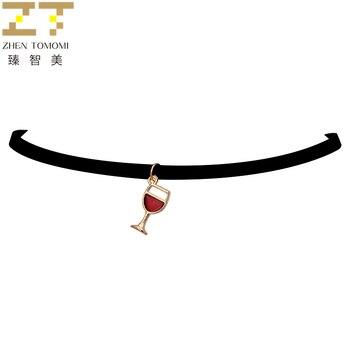Fashion False Collar Torques Goblet Wineglass Pendants Black Velvet Leather Chokers Necklace