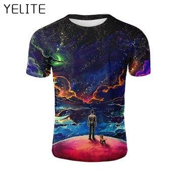 Camiseta de verano del cielo estrellado de YELITE para hombre Tops 3D impreso Espacio Estrella streetwear Hombre Camisetas Camiseta Hombre camiseta homme perro