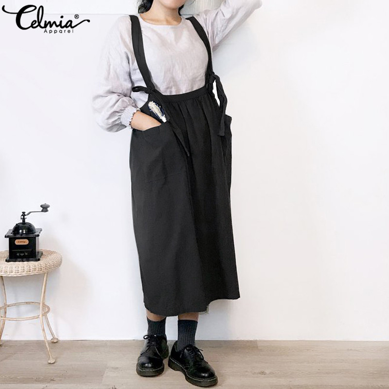 Celmia Women Straps Dress Suspender Bib Overalls Baggy Pinafore Dress Casual Pockets Sleeveless Lace-up Mid-calf Vestidos Femme