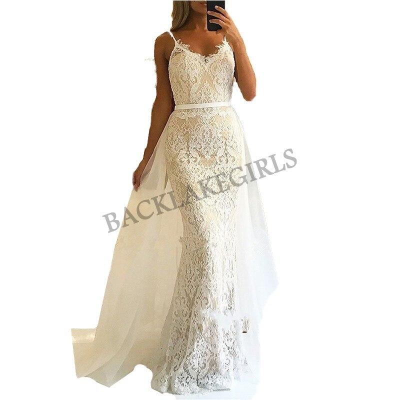 Vestidos de gala Fashionable Lace Tulle   Prom     Dress   2019 Spaghetti Strap Mermaid Evening long   Dresses   For Women