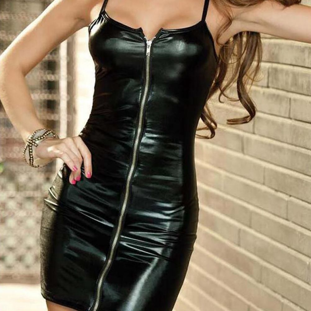 Sexy Lingerie Women Sex Night  Erotic Dress Faux Leather Female Zip Club Wear Party Apparel Fetish Bondage Costumes 2