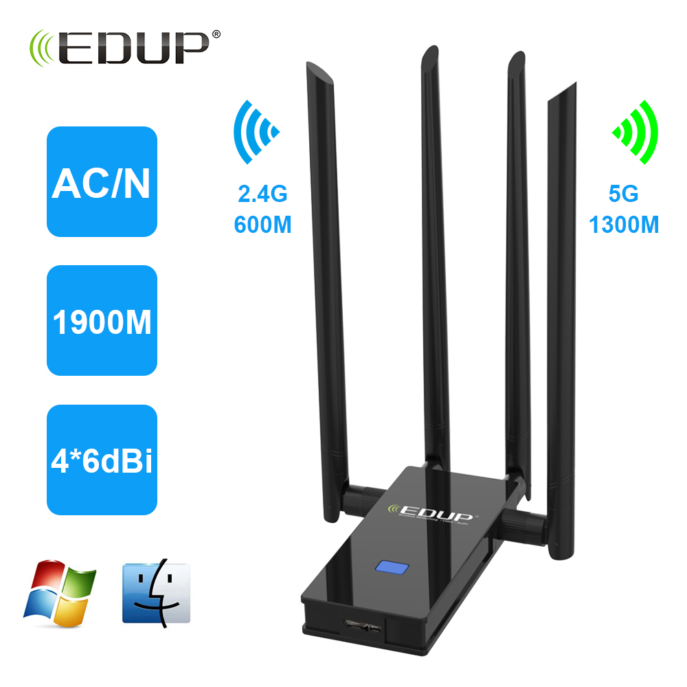 EDUP USB3.0 Dual Band USB Network Adapter 2.4/5Ghz 802.11ac 1900Mbps USB Wireless Wi-Fi Adapter 4*6dBi WiFi Dongle