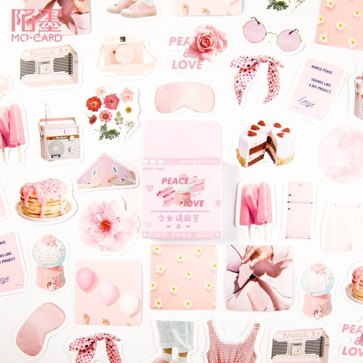 46PCS/box New Cute Girl Please Answer Paper Lable Sealing Stickers Crafts Scrapbooking Decorative Lifelog DIY Stationery Sticker