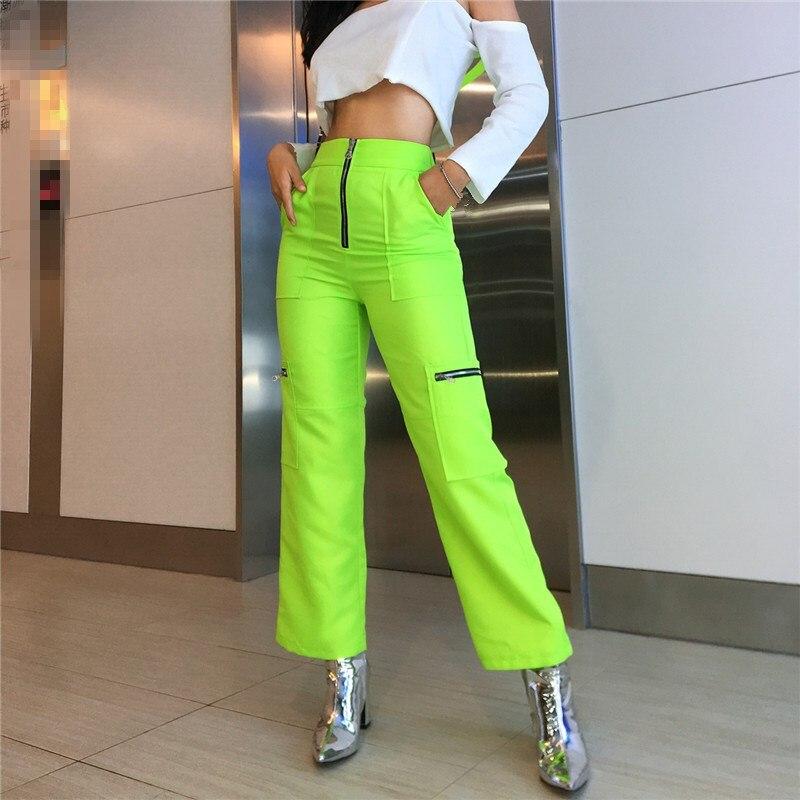 Zipper Pockets Neon Green   Wide     Leg   Cargo   Pants   Women High Waist Streetwear Trousers   Wide     Leg     Pants   Harajuku Casual   Pants