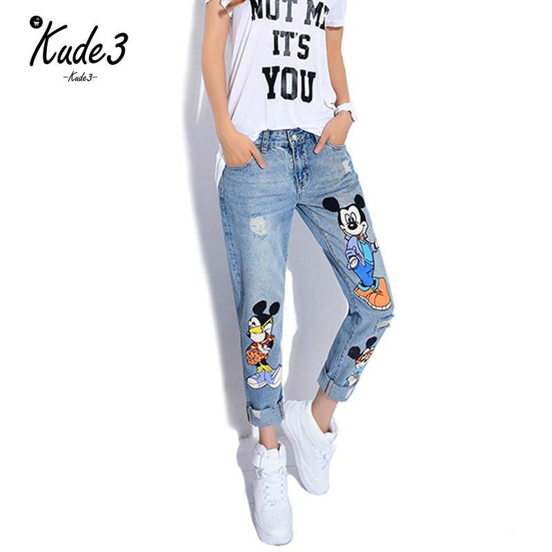 KUDE 2019 Jeans Women Casual Denim Ankle-Length Boyfriend Pants Women Print Pants Casual Harem Pants Female Plus Size 5XL 5822