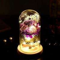 Glass Cover Eternal Flower with LED for Valentine's Day Birthday Mother's Day Gift Anniversary Wedding Decor Artificial Flowers