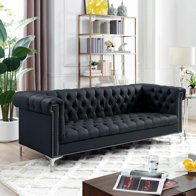 Steffi Leather Chesterfield Sofa Silver Metal Legs On Tufted Nailhead Trim Modern