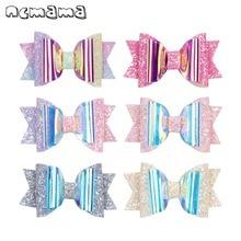 ncmama Hair Bows for Girls Shiny PVC Glitter Clips 3 Cute Mini Hairpins Kids Princess Barrettes Accessories