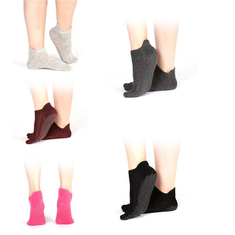 Yoga Socks Combed Breathble Deodorant Cotton Breathable Socks An Tiskid Anti Friction Rubber Sole Full Toe Sports Socks New