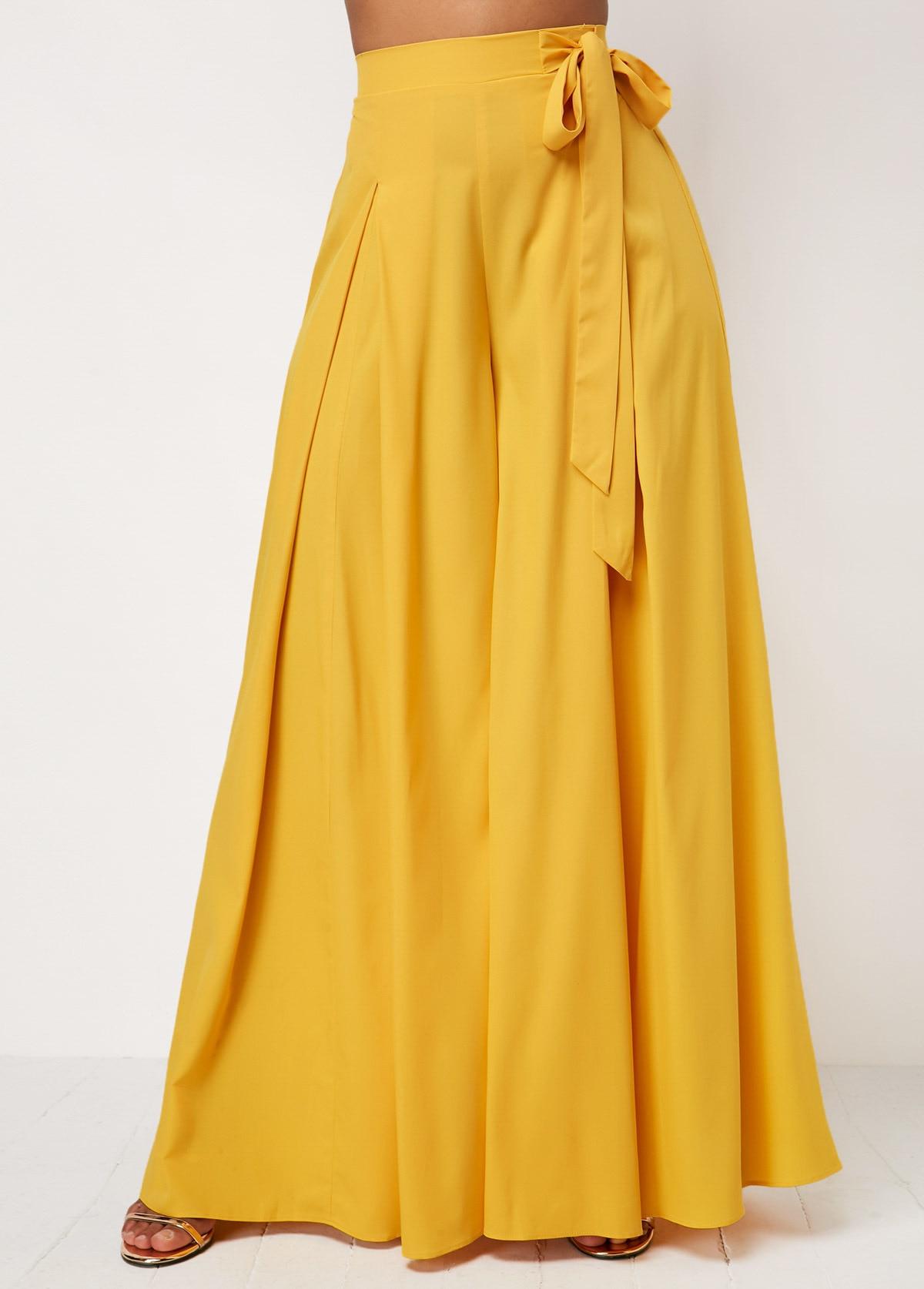 Self Belted Box Pleated Palazzo   Pants   Women Elegant Loose Long   Pants   2018 Fall Yellow High Waist   Wide     Leg     Pants