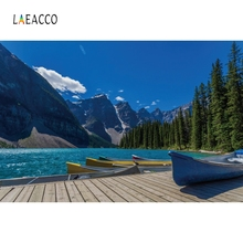 Laeacco Blue Sky River Boat Mountains Nature Portrait Photography Backgrounds Customized Photographic Backdrops For Photo Studio