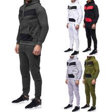 Conjuntos de Treino Conjunto Terno Dos Esportes dos homens Outwear Hoodies + Calças Compridas Basculador Sweatpant Sweat Com Capuz Bolso Frontal Plus Size