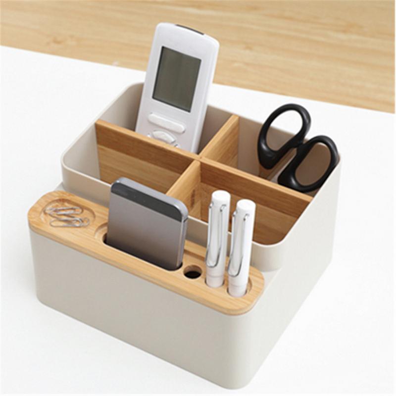 Multi-function 4 Grid Desktop Pen Holder Office School Stationery Storage Case Wood Box Desk Pen Pencil Organizer Phone Holder