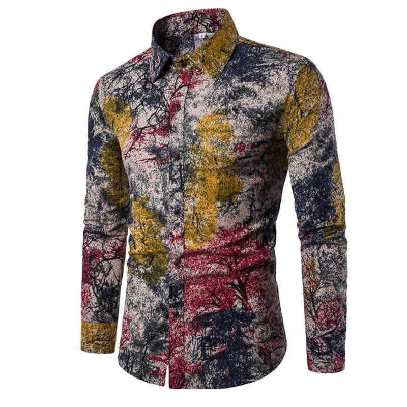 2019 mannen Shirts Retro Bloemen Gedrukt Man Casual Slim Shirt Fashion Classic Mannen Dress Shirt mannen Met Lange Mouwen merk Kleding