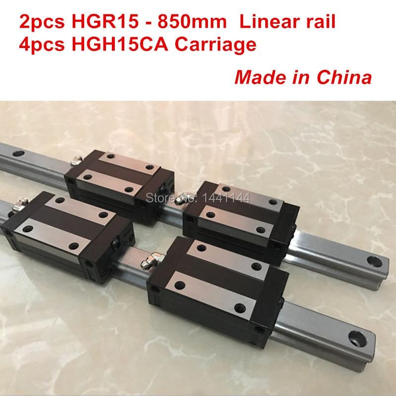 HGR15 lineare binario di guida: 2 pz HGR15-850mm + 4 pz HGH15CA blocco di trasporto lineare parti CNCHGR15 lineare binario di guida: 2 pz HGR15-850mm + 4 pz HGH15CA blocco di trasporto lineare parti CNC