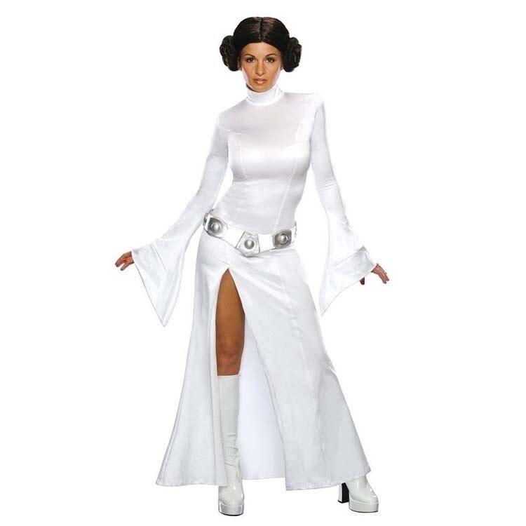 Adult Women Star Wars Princess Leia Organa Solo Cosplay Costume White Long Sleeve Fancy Split Dress + Belt Custom Made Halloween