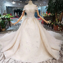 The high quality Princess Wedding Dresses 2019 Dew shoulderr sequins Lace Puffy champagne Gown Bridal Dress