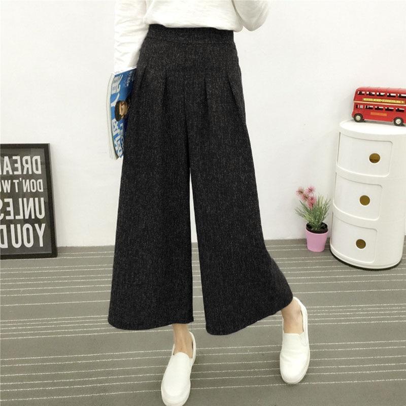 ZANZEA Women Wide Leg Pants Trousers Cotton Elastic High Waist Pants Spring Autumn Female Thick Trouser Ankle-length Pantalon