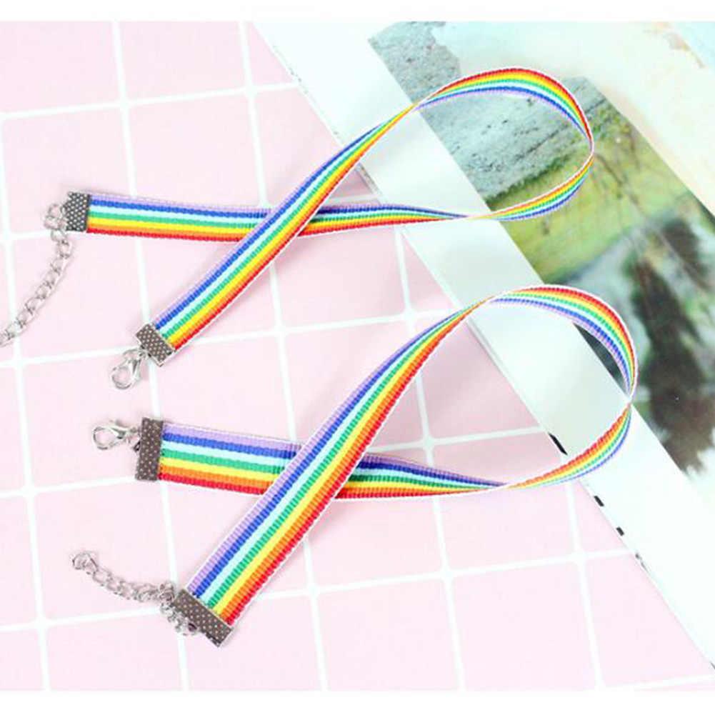 Pria Wanita Gay Pride Rainbow Kalung Kalung LGBT Gay dan Lesbian Kebanggaan Renda Chocker Pita Kerah dengan Liontin Perhiasan
